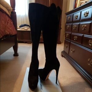 Brian Atwood black suede boots size 40 1/2